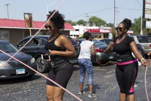 Lena Clark from beauty & the BRiDE Skin Care and Kisha Williams from Power Fit Chicago JUMP for Fitness event