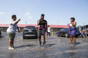 Lena Clark from beauty & the BRiDE Skin Care JUMP for Fitness event
